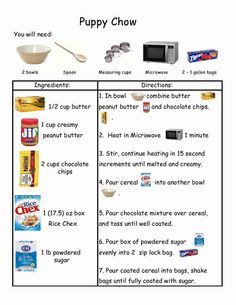 Who doesn't   love   Puppy Chow?         http://www.teacherspayteachers.com/Product/Puppy-Chow-Recipe-with-visu...