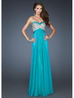 Teal Dress With Silver Bodice    La Femme 18733, $398, lafemmefashion.com