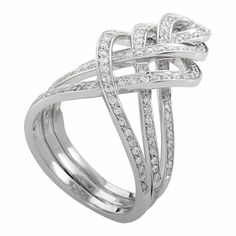 Damiani Woven Diamond White Gold Band Ring. 21st century