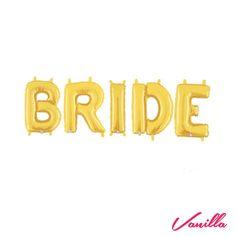 Balões bride, kit com 5 letras (B, R, I, D, E) de balões metalizados na cor dourado. Tamanho: 40 cm cada letra vazia.