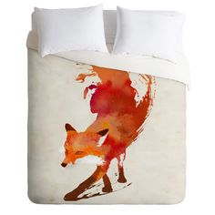 In fiery red and orange, the Robert Farkas Vulpes Duvet Cover by Deny Designs features a fabulous painted fox design. This magnificent duvet cover. Pink Bedding, Luxury Bedding, Bedding Sets, Bedding Decor, Orange Duvet Covers, Red Duvet Cover, Textiles, Fox Design, Custom Furniture