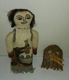 "10"" Native Alaskan Handmade and Hand Drawn Seal Skin Doll   #xx"
