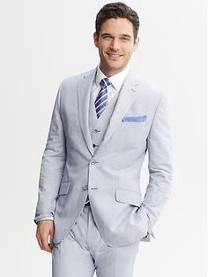 Tailored-Fit Navy Micro-Stripe Suit Jacket | Banana Republic