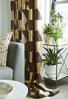 A Glam One-Bedroom Apartment Makeover — One Kings Lane — Curtains made from Pierre Frey fabric!!