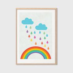 Rainbow in Raindrops Poster : Modern Illustration Retro Art Wall Decor Print 8 X 10. $7.00, via Etsy. #babylettostyle
