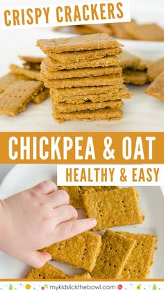 chickpea and oat crackers, healthy snacks made with simple ingredients.,Healthy, Many of these healthy H E A L T H Y . chickpea and oat crackers, healthy snacks made with simple ingredients. Crispy and crunchy and delicious Source . Baby Food Recipes, Gourmet Recipes, Whole Food Recipes, Snack Recipes, Diet Recipes, Recipies, Healthy Crackers, Homemade Crackers, Oat Crackers Recipe