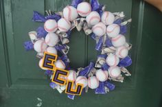 ECU Baseball Rag Wreath--Baseball decor--- ECU wreath, East carolina, pirates, Pirate nation, ECU baseball on Etsy, $38.50