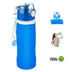 Collapsible Sports Bottle Elegant Silicone Foldable Water Bottles FDA Approved Leakproof 750ml Blue -- Click image to review more details.Note:It is affiliate link to Amazon.