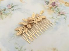 Gold Leaf Hair Comb.Gold Branch Hair Comb.Gold by FabulousFinds