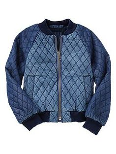 Quilted denim bomber jacket-Something both of us want.