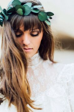 Silver Dollar Eucalyptus Crown created with naturally dried eucalyptus leaves for the ethereal-boho bride or bridesmaids