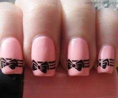 pink nails with black bow #nailart #nails