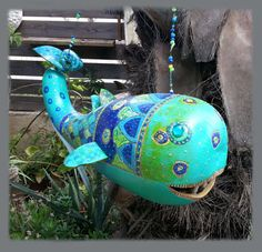 """Gourd Whale II  . Handmade Gourd Sculpture. Carved and artuflly painted, weather resistant. By Claudia's Art (This is a one of a kind item. Each """"fish"""" has its unique shape and deviates slightly in color and design). http://josephclaudia.wix.com/holyland-art"""