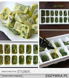 frozen herbs in olive oil