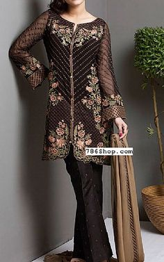 Black/Brown Chiffon Suit | Buy Jazmin Pakistani Dresses and Clothing online in USA, UK