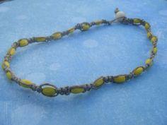 Yellow Bead Hemp Choker by AurosCrafts on Etsy