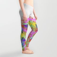 splatter white Leggings by donsart Cute Athletic Outfits, Cute Gym Outfits, Athletic Clothes, Athletic Wear, Affordable Workout Clothes, Custom Leggings, White Leggings, Womens Workout Outfits, Custom Clothes