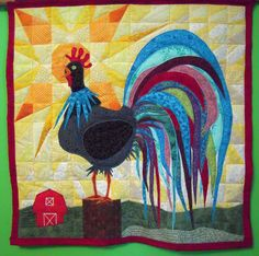 Finished Rooster Quilt 2010.  Foundation paper pieced background and raw edge applique.