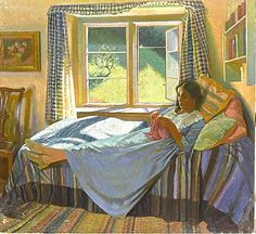 knitting << art portrait knitter indoors adult woman bed window
