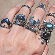∴∵✤∵∴ When your stack is so on point that you just can't stop staring ∴∵✤∵∴ Shop ⇢⇢ www.shopdixi.com ⇢⇢  // shop dixi // boho // bohemian // gothic // grunge // witchy // witchy // boho jewels // boho chic  // bohemian jewellery // bohemian jewelry // silver rings // sterling silver // gypsy jewels // rings // stacking rings // moon child // dark // mystic