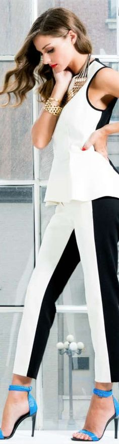 Olivia Palermo. Black and white outfit♥♥