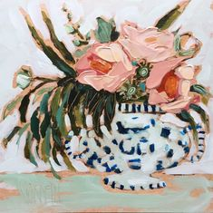 Peachy Blooms in a Blue & White Vase by Amanda Norman. Floral art.
