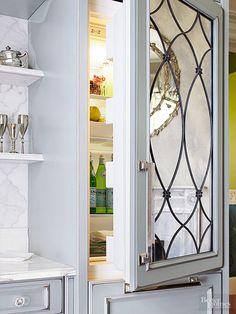 Leaded mirrored paneled refrigerator door panels