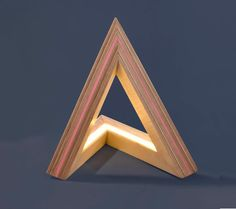 LED wood light - wooden triangle PINK paper lamp, Modern ecofriendly home decor