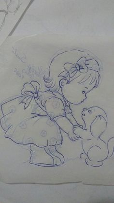 Trendy Embroidery Designs For Kids Fabrics Ideas Girl Drawing Sketches, Baby Drawing, Art Drawings Sketches Simple, Pencil Art Drawings, Cute Drawings, Baby Painting, Fabric Painting, Painting For Kids, Hand Embroidery Patterns