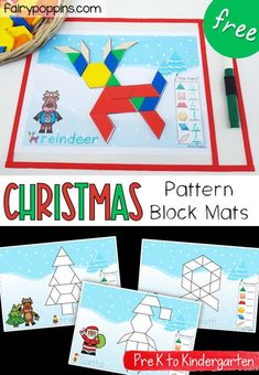 These FREE Christmas pattern block mats are a fun addition to math centers. They help kids learn about shapes counting Christmas vocabulary all while developing their fine motor skills! Christmas Pattern Block Mats, Christmas Blocks, Kindergarten Activities, Preschool Activities, Preschool Class, Math Class, Christmas Activities, Christmas Themes, Preschool Christmas