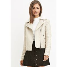 Forever 21 Women's  Faux Leather Moto Jacket (€30) ❤ liked on Polyvore featuring outerwear, jackets, forever 21 jackets, motorcycle jacket, white moto jacket, white jacket and moto jacket