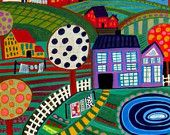 Primitive FOlk Art Landscape Print Poster of Painting Trees Saltbox Houses - Wedding Gifts