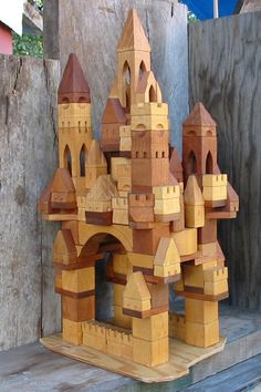 Castle Building Blocks/Hardwood Handmade/133pc w by Blocksmith