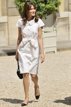Carla Bruni-Sarkozy at Bastille Day celebrations in Paris