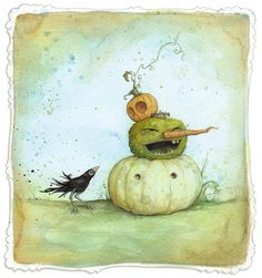 """Whimsical, not so spooky watercolour art illustration for Halloween leontine's """"stack o' lanterns"""" Retro Halloween, Halloween Prints, 31 Days Of Halloween, Halloween Pictures, Holidays Halloween, Halloween Pumpkins, Happy Halloween, Halloween Decorations, Halloween Clothes"""