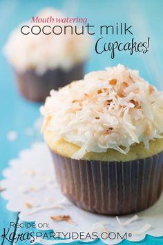 SO GOOD! Toasted Coconut / Coconut Milk #Cupcake #Recipe via Kara Allen Kara's Party Ideas KarasPartyIdeas.com Good cupcakes!