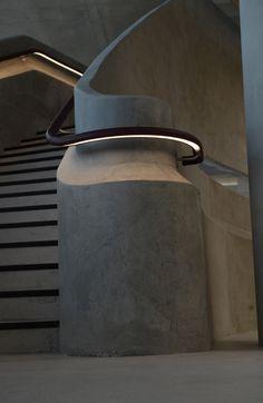 Stairway idea: underlight the handrails! The Light Lab designed bespoke leather LED handrail at Hiscox, York. Architecture Design, Light Architecture, Stair Lighting, Interior Lighting, Club Lighting, Lighting Ideas, Led Stair Lights, Basement Lighting, Office Lighting