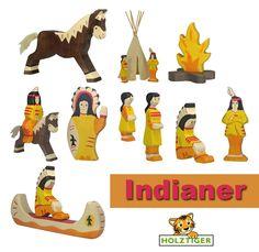 Holztier-Holzfigur-Holztiger-Indianerhaeuptling-Kanu-Tipi-Squaw-Zelt-Pferd