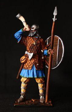 Viking with Horn Tin toy soldier 54 mm., figurine, metal sculpture. #Spbsouvenir