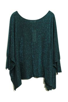 Batwing Sleeves Oversized Peacock-cyan Jumper