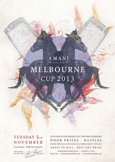 Amani Wine Bar in Leederville are hosting a Melbourne Cup Lunch - they wanted a something a bit different for their promotional material - heres the poster I designed for them . Melbourne Cup Fashion, Blackbird Designs, Cup Design, Race Day, Event Styling, Art Direction, Racing, Graphic Design, Wine