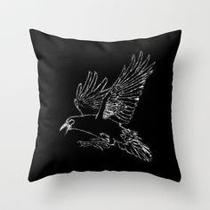 The Rook (Black) Throw Pillow by Robert Lee - $20.00 #art #rook #raven #crow #iphone #ipod #ipad #galaxy #s4 #s5 #s6 #case #cover #skin #mug #bag #pillow #stationery #apple #mac #laptop #sweat #shirt #tank #top #clothing #clothes #hoody #kids #children #boys #girls #men #women #ladies #lines #love  #light #home #office #style #fashion #accessory #for #her #him #gift #want #need #love #print #canvas #framed #Robert #S. #Lee