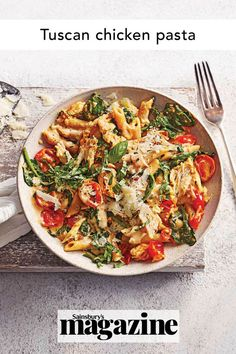 Wholewheat pasta brings more fibre to this tasty recipe with chicken breast, tomatoes, garlic and spinach. Our filling and comforting Tuscan chicken pasta takes just 25 minutes to prepare, and is under 520 calories. Get the Sainsbury's magazine recipe Chicken Recipes With Tomatoes, Chicken Pasta Recipes, Shrimp Recipes, Spinach Pasta, Spinach And Cheese, Yummy Pasta Recipes, Healthy Recipes, Tasty Recipe, Tuscan Chicken Pasta