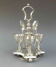 Antique Silver Plated EGG CUP CRUET On Revolving Stand ~ Dn & Co PATENT / 19thC