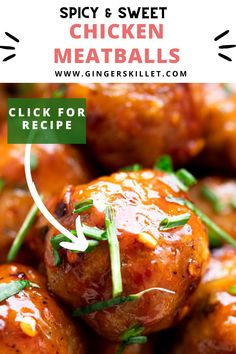 Spicy Chicken Meatballs aka Firecracker meatballs recipe with step-by-step instructions. These spicy and sweet twice-baked chicken meatballs are super easy to make and tastes delicious as an appetizer or in a meal! Baked Chicken Meatballs, Spicy Meatballs, Chicken Meatball Recipes, Chicken Meals, Bbq Chicken, Spicy Recipes, Lunch Recipes, Appetizer Recipes, Cooking Recipes
