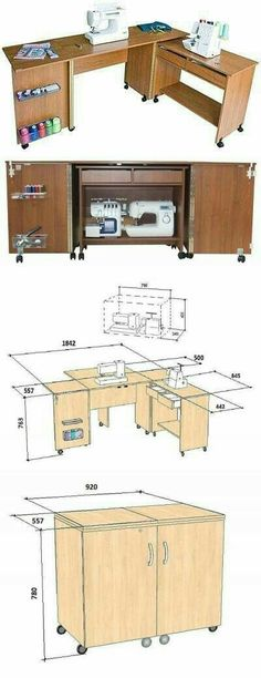 Craft room table diy sewing spaces 52 new Ideas Diy Sewing Table, Sewing Machine Tables, Sewing Machines, Sewing Box, Sewing Notions, Free Sewing, Sewing Room Organization, Craft Room Storage, Storage Ideas
