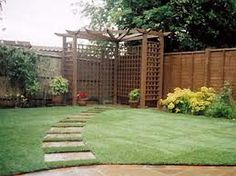 corner pergola - not so close to fence - allow for garden surrounding it and climbers