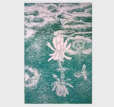 Water Lily, Linocut print, Art for sale, Teal wall art, unique wedding gift, Linoprint, Original Hand pulled print relief, New Forest