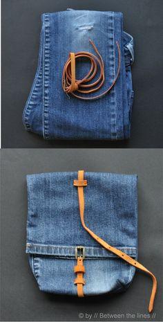 Ingenioso bolso reciclando un pantalón vaquero
