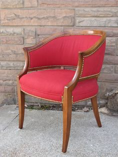 Gorgeous Classic Red Occasional Chair with Nailhead Trim, Cherry Frame - $195 (Nines at Lost & Found GR)